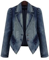 Bestor Fashion Vintage Women`s Long Sleeve Denim Jeans