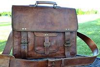 PL 16 Inch Vintage Leather Messenger Bag Briefcase / Fits