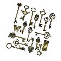 Vintage Skeleton Keys Charm Set in Antique Bronze Pack of 18
