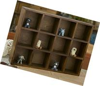 LOHOME Vintage Wood 12-Cubby 3-Layer Tray Storage Cabinet