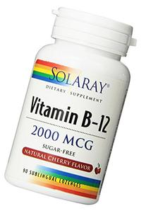 Solaray Vitamin B-12, 2000 MCG, Cherry Flavor, 90 Sublingual