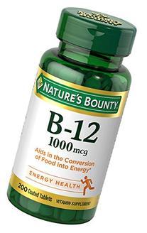 Nature's Bounty Vitamin B-12 1000 mcg, 200 Tablets
