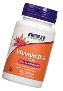 NOW Foods Vitamin D-3 400IU, 180 Softgels