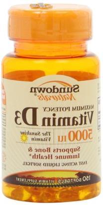 Sundown Naturals Vitamin D 5000iu Softgels - 150 ct, Bottle