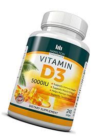 Vitamin D3 5,000 IU 240 Softgels By Hamilton Healthcare, All
