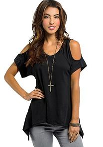 Urban CoCo Women's Vogue Shoulder Off Wide Hem Design Top