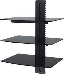 VonHaus 3x Black Floating Shelves with Strengthened Tempered