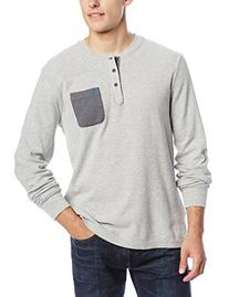 Original Penguin Men's Waffle Long Sleeve Henley Shirt, Rain