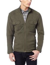 Haggar Men's Waffle Long Sleeve Zip Cardigan,Green,Large