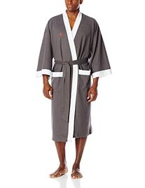 Jockey Men's Waffle Weave Kimono Robe, Charcoal Heather/