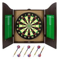 Triple Out Darts Walnut Dartboard Cabinet Set with 6 Brass