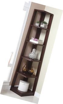 Walnut Finish Wood Wall Corner 5 Tiers Shelves Bookshelf