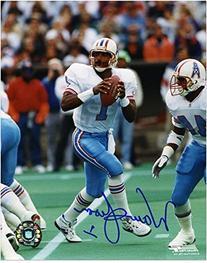 """Warren Moon Houston Oilers Autographed 8"""" x 10"""" Drop Back"""