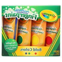 Washable Fingerpaint Pack, 4 Assorted Bold Colors, 4 oz