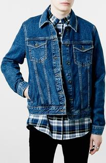 Men's Topman Washed Denim Jacket, Size Medium - Blue