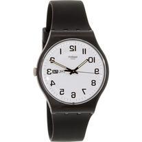 Swatch Watch, Unisex Swiss Twice Again Black Silicone Strap