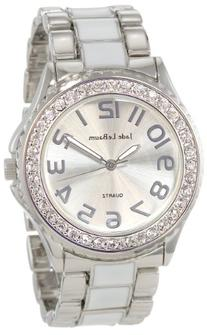 Womens Watch Two Tone Bracelet Crystal Bezel Large Face