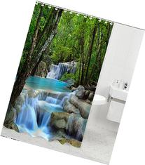 Shower Curtain Waterfalls Nature Scenery Bathroom Waterproof