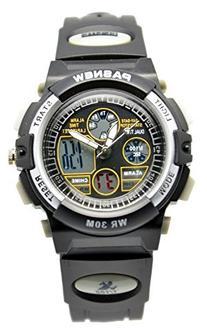 Pasnew Boys Girls Waterproof Sport Digital Watch Dual Time