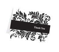 Hortense B. Hewitt Wedding Accessories Thank You Note Cards, Damask Flourish, Pack of 50