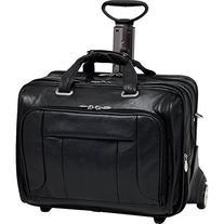 Fly-Through Wheeled Laptop Case, Leather, Mid-Size, Black -