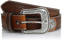 Ariat Western Belt Mens Leather Basket Stamp Conchos