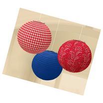 Western Round Paper Lanterns  - 3 pcs