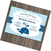 Whale Baby Shower Invitation, Little Squirt Baby Boy Shower