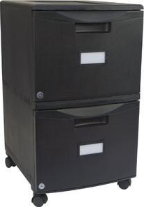 Storex 18-Inch Wheeled Two-Drawer Locking Filing Cabinet,