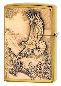 Zippo Where Eagles Dare Brushed Brass Pocket Lighter