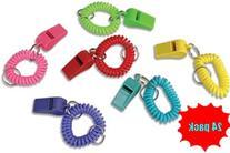 12 Pc Whistle Expando Bracelet Key Chains  Coil Bracelet