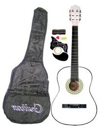 "38"" WHITE Acoustic Guitar Starter Package, Guitar, Gig Bag,"