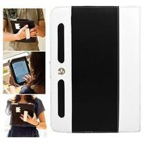 VanGoddy White and Black Dauphine Faux Leather Portfolio