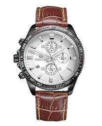 Fanmis Men's White Face Brown Leather Strap Chronograph