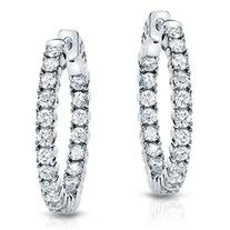14k White Gold Round-cut Diamond in 4-Prong Hoop Earrings