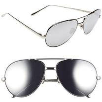 Women's Linda Farrow 59Mm 18 Karat White Gold Trim Aviator