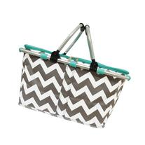 White and Grey Chevron Print Insulated Market Picnic Basket-