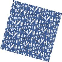 White Happy Father's Day on Blue Wrapping Paper - 6ft Roll