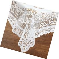 "White Lace Reusable Tablecloth Rectangle Size 60"" X 104"
