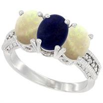 14K White Gold Natural Lapis & Opal Sides Ring 3-Stone 7x5