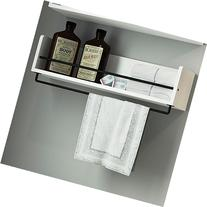 White Rustic Bathroom Wood Wall Shelf with Metal Rail Also