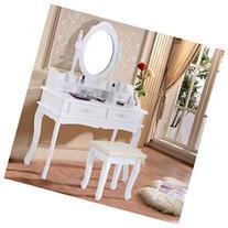 White Vanity Jewelry Makeup Dressing Table Set W/Stool 4
