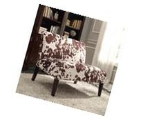 INSPIRE Q Wicker Faux Brown Cow Hide Fabric 2-seater Accent
