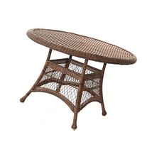 "Jeco Wicker 44"" Round Dining Table in Honey"