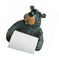 Willie Black Bear Holding Roll Of Toilet Tissue Wall Mounted