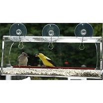 Large Window Bird Feeder: See Through Clear Acrylic Design