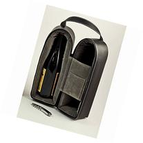 Wine Carrier - Dual Wine Caddy with Bar Tool - Black Leather
