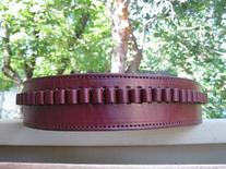 "50"" Wine Genuine Leather .38 Caliber Cartridge Gun Belt"