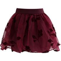 Chicwish Wine Red Beloved Organza and Crepe Skort