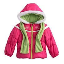 London Fog Girls Pink Winter Coat & Scarf Ski Jacket Set